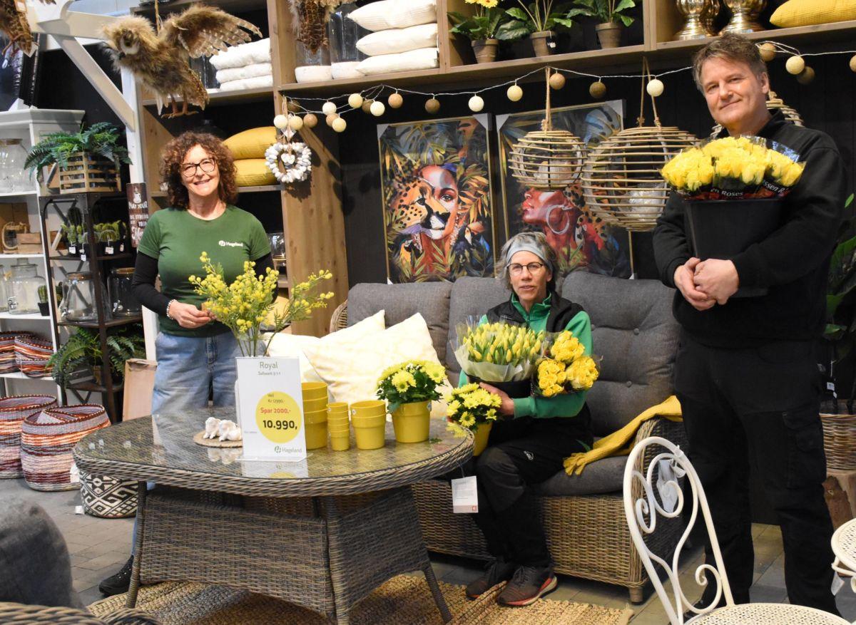 Gult er kult og påskefarge!  Frå venstre Borghild B. Talgø, Hubertine Roebroek og Oddmund Jørgensen.  Foto: Jon Olav Ørsal