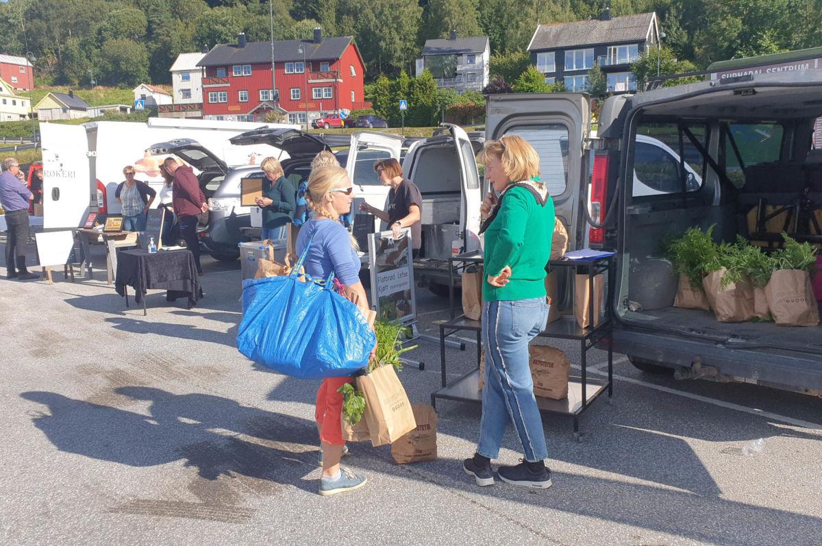 Utlevering frå Reko-ringen foregår på parkeringsplassen ved ALTI-sentret.  Foto: Anders Gjeldnes