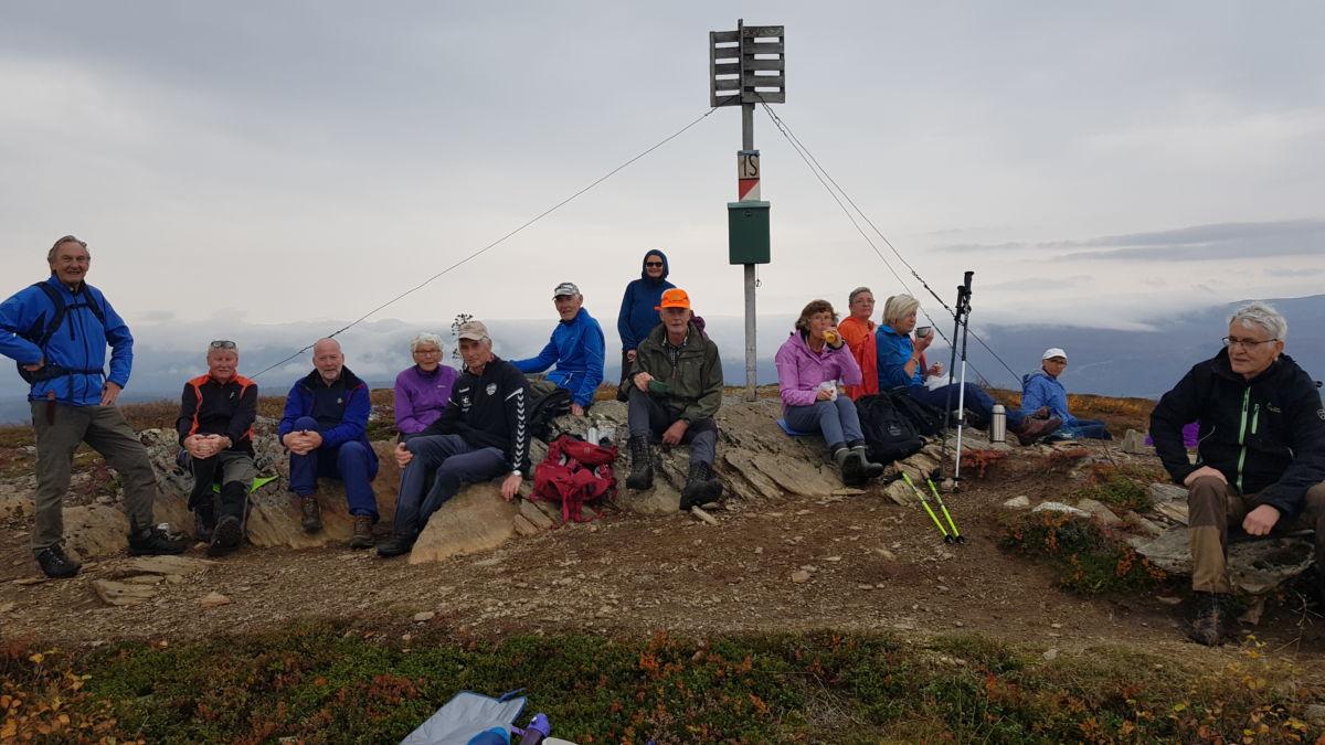 Til topps på Telstadfjellet - Fjellgruppa ved flymerket på Telstadfjellet.  Foto: Tor Asle Ranes