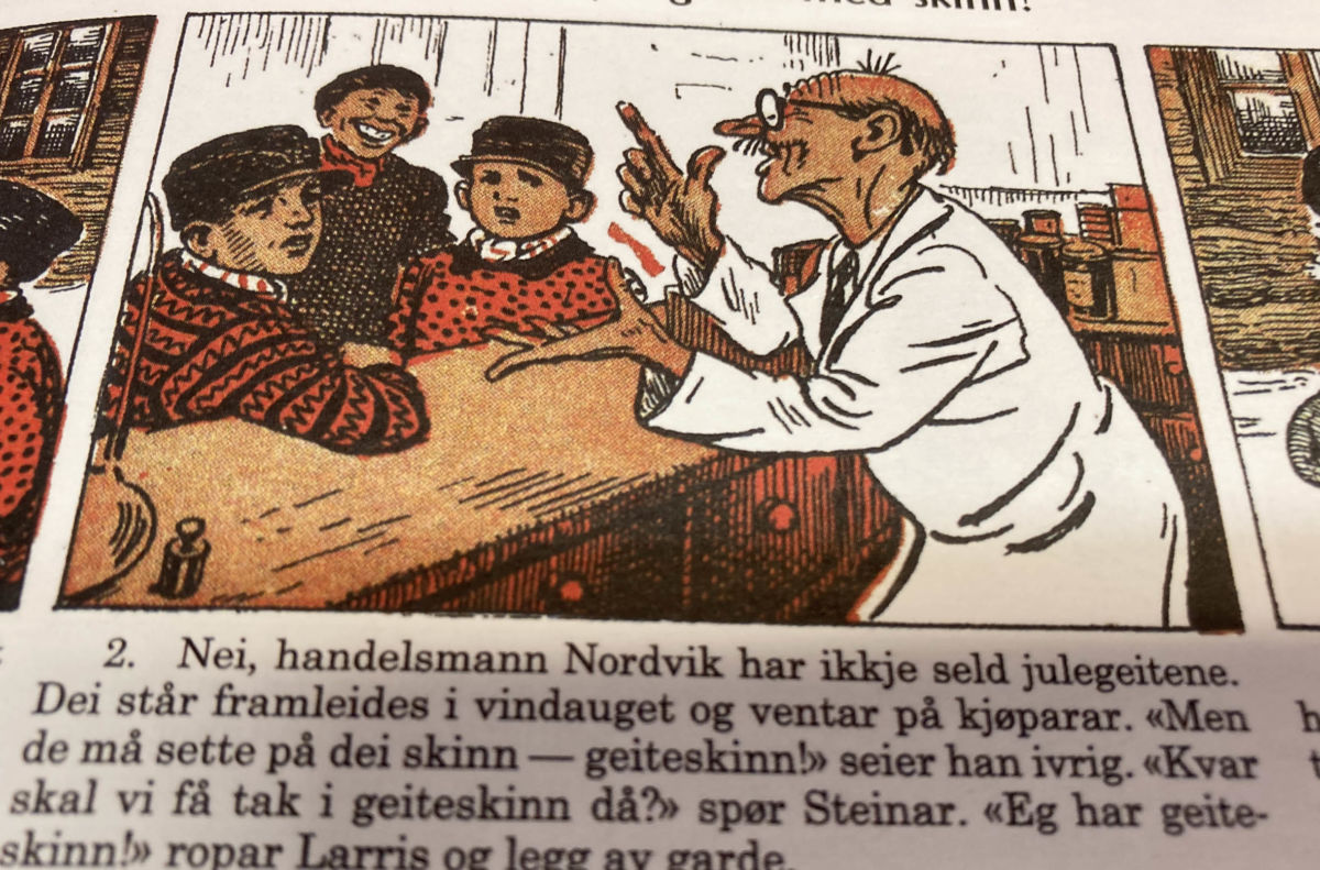 Handelsmann Nordvik samarbeider med Steinar, Kåre og Larris.  illustrasjon frå Vangsgutane