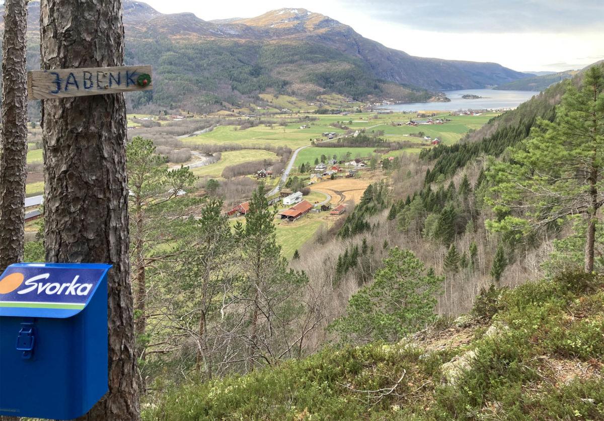 Utsikt frå Hyllå - eller Ja-benken om du vil.  Her har du god oversikt over nedre del av bygda.  Foto: Jon Olav Ørsal
