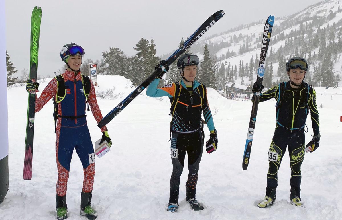 Erik sikra seg pallplass og bronse under søndagens sprint i bavallen i Voss.  Her