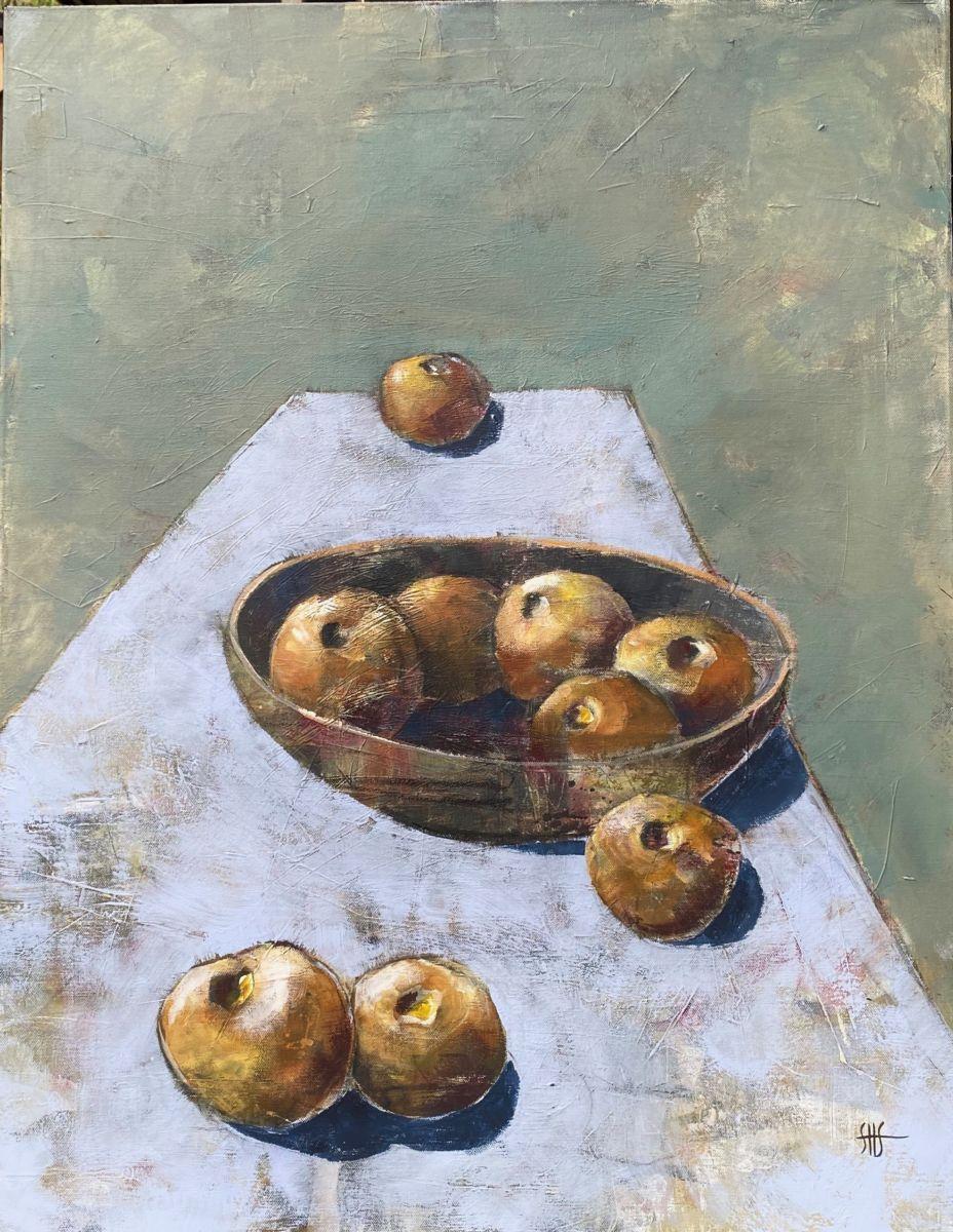 Ni epler laga av Sissel H. Storslett. Foto: Privat