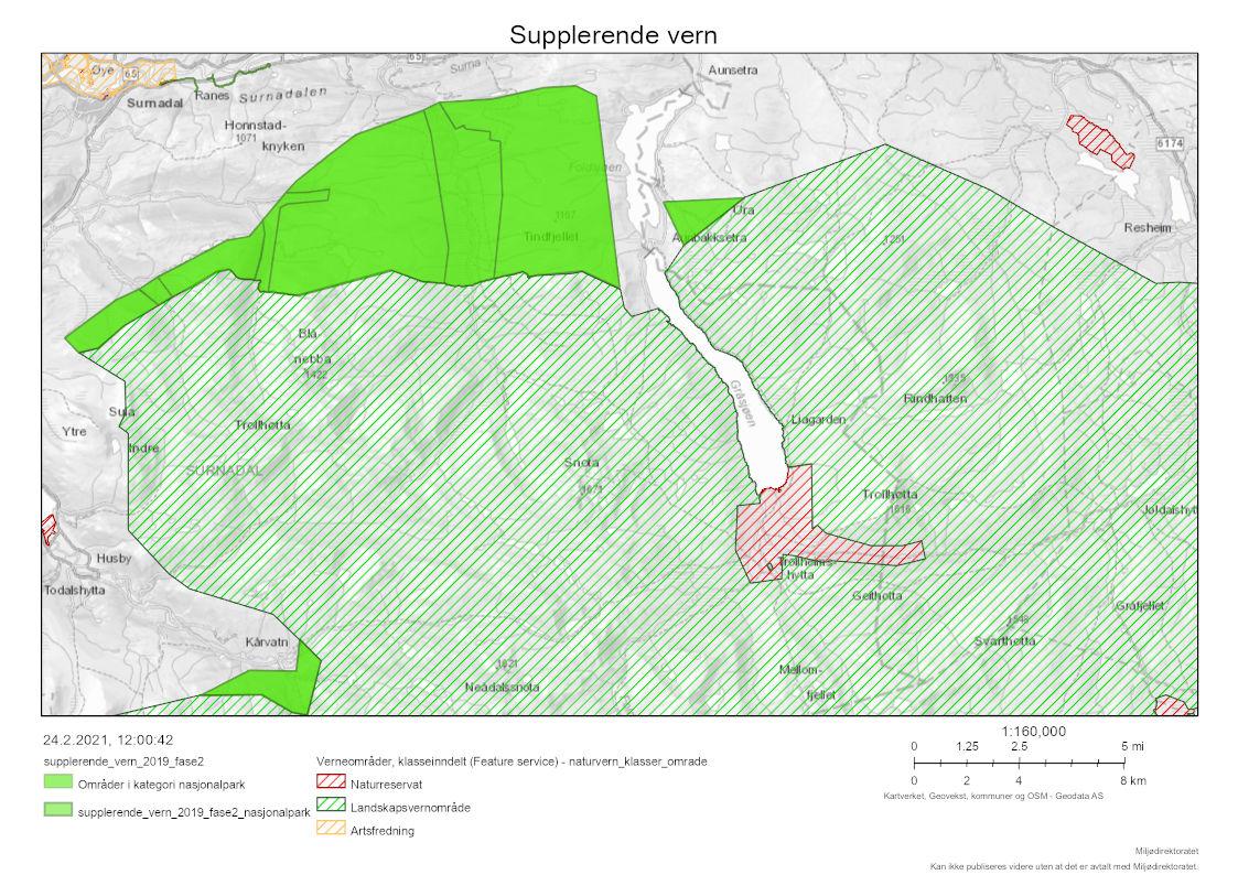 Trollheimen landskapsverneområde er farga lysegrønt, medan mogleg utviding er farga mørkegrønt.