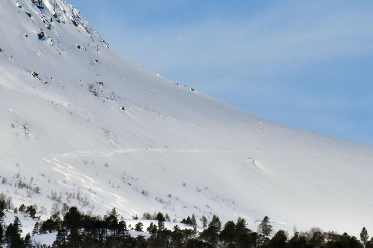 Det heng ein stor skavel  i fjellsida på Litj-fjellet.  Foto: Jon Olav Ørsal