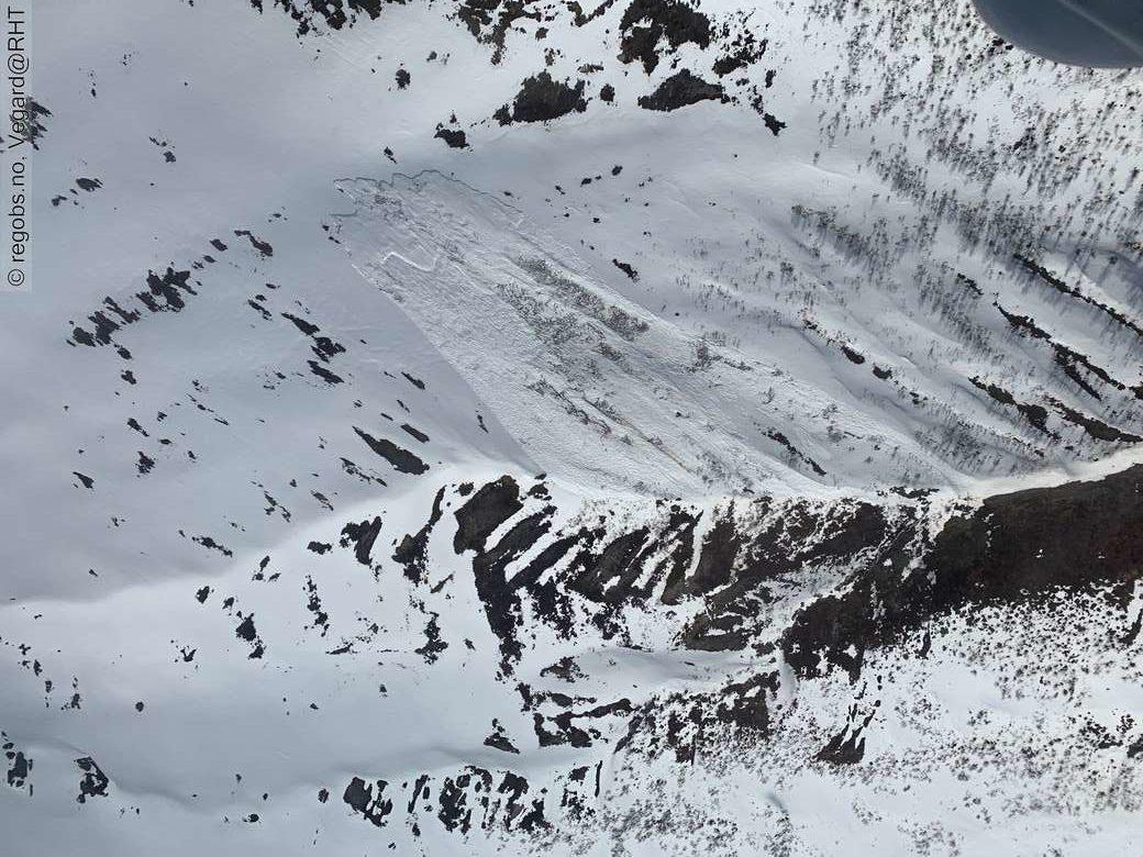 Stort snøskred i Stolidalen i Oppdal.  Foto:Varsom.no