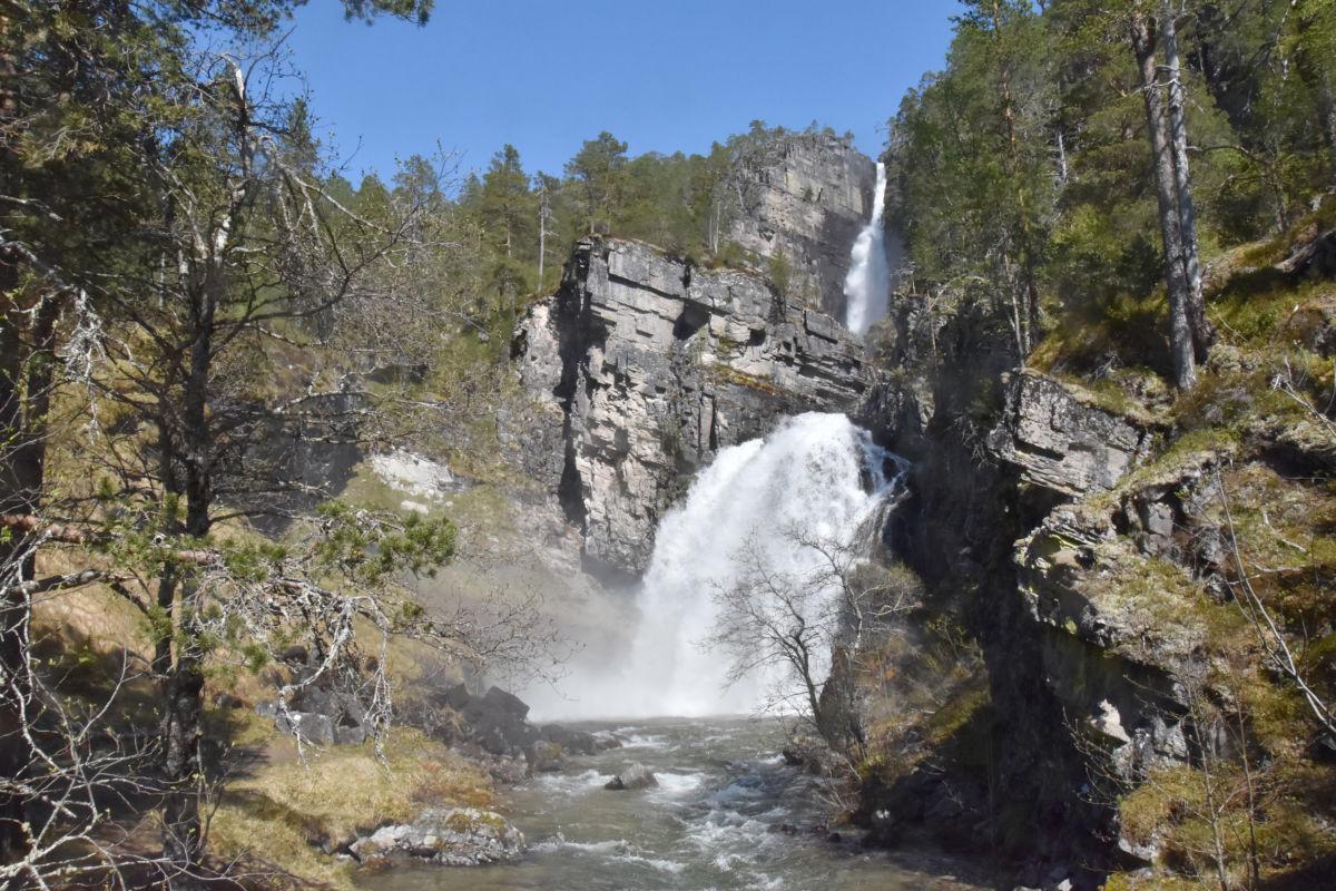 Mykje å sjå i Todalen - mellom anna Nauståfossen som er imponerande no å vårløysinga.  Foto: Jon Olav Ørsal