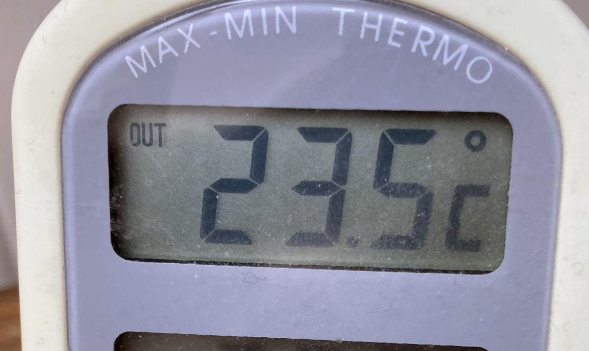 23,5 grader kl 8.00 i dag.