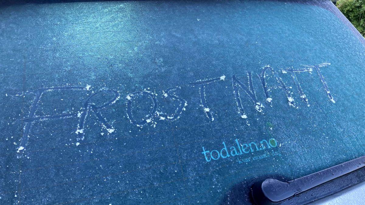 Natt til 4. september var det is på bilruta, men var det frostnatt? Foto: Jon Olav Ørsal