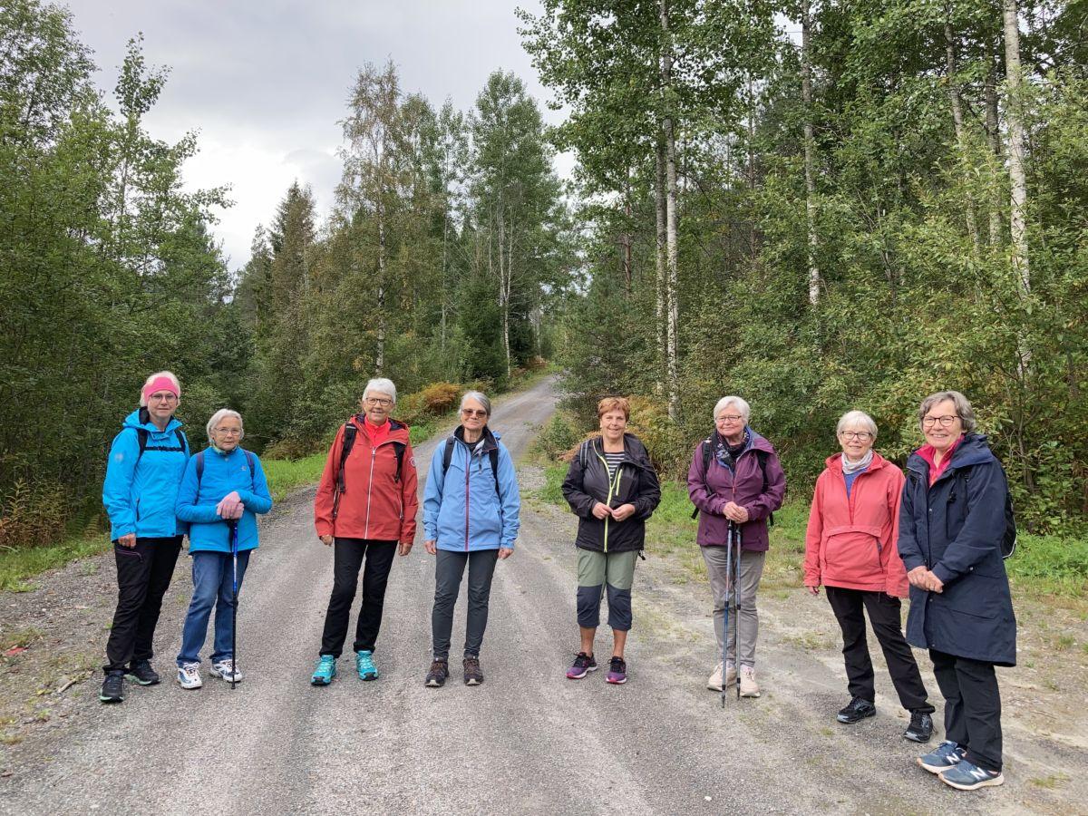 På tur ned frå Tjønnmran. Frå venstre: Åse, Sigrun, Arndis, Jean, Kari, Helen, Dordi, Jorunn. Foto: Marit S S